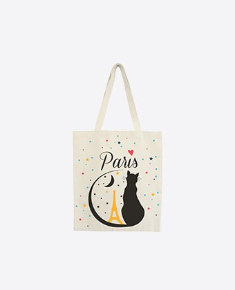 "Tote Bag ""Paris Black Cat"""